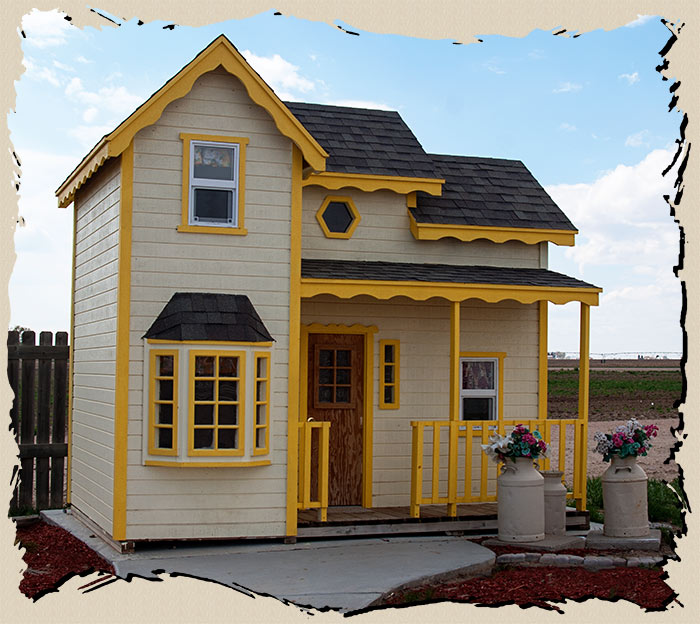 inspiring wooden exterior playhouse design for kids with two