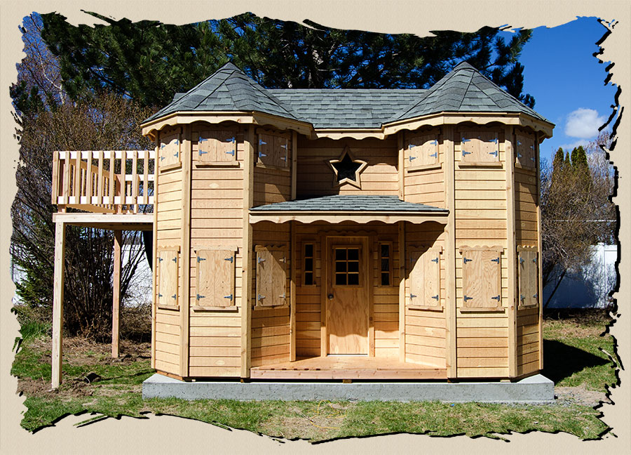 Victorian Backyard Floored Playhouse : Victorian Castle outdoor playhouse with turrets