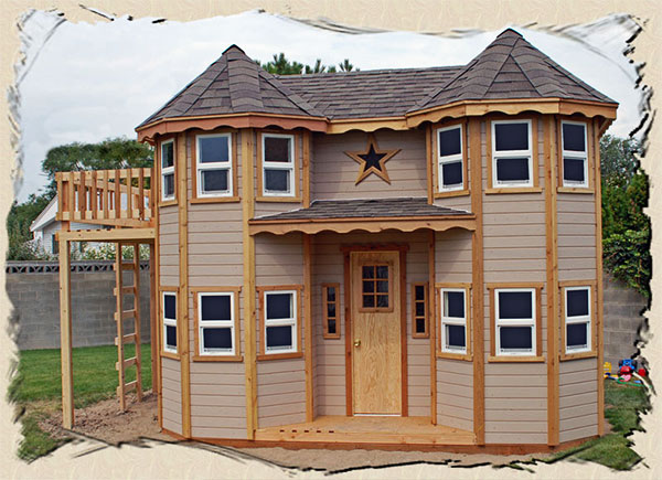 Playhouses for kids on pinterest kid playhouse play for Blueprints for playhouse
